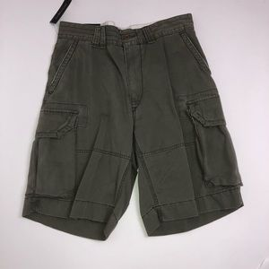 Men's flat front distressed look cargo shorts.